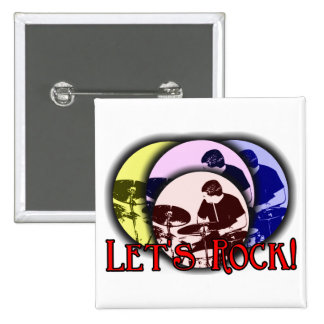 Let's Rock 2 Inch Square Button