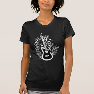 Let's Rock,White music notes&Guitar_ Tshirts