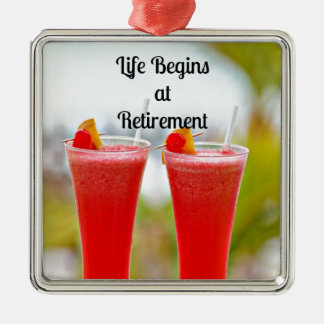 Life Begins at Retirement - Frosty Tropical Drinks Silver-Colored Square Ornament