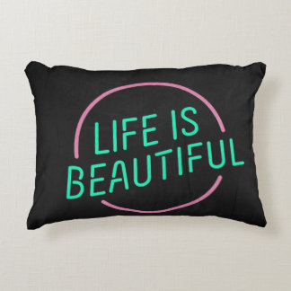 """🔠 Life is Beautiful Polyester Pillow 16"""" x 12"""" Accent Pillow"""