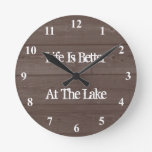 Life is better at the lake wood grain wall clock