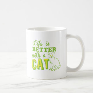 life is better with a cat classic white coffee mug