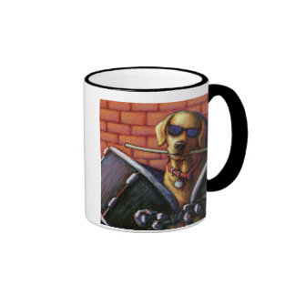 """""""Life is Better With a Drummer"""" Yellow Lab Drums Ringer Coffee Mug"""