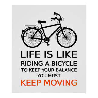life is like riding a bicycle, text design, word a poster