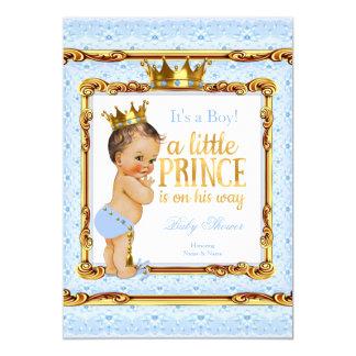 "Light Blue Gold White Prince Baby Shower Brunette 5"" X 7"" Invitation Card"