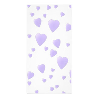 Light Lilac and White Love Hearts Pattern. Personalized Photo Card