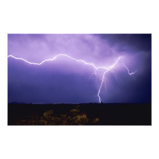 Lightning strike over desert, Big Bend Photo Art