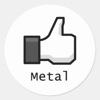 Like Metal Round Sticker