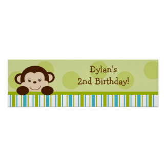 Lil Monkey Mod Monkey Baby Shower Banner Sign Poster