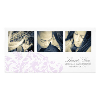 LILAC & WHITE FLOURISH   WEDDING THANK YOU CARD PICTURE CARD