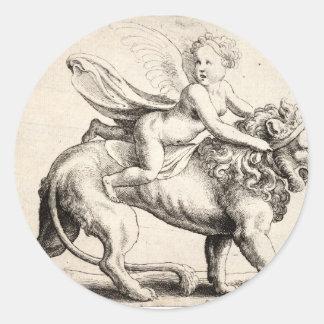 lion and cherub round sticker