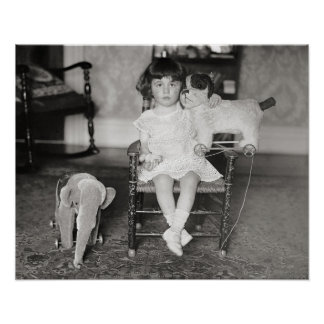 Little Girl with Stuffed Toys, 1922. Vintage Photo Poster