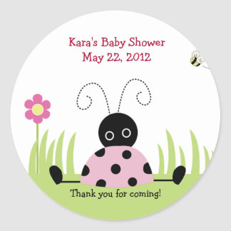 Little Ladybug (Pink) Baby Shower Favor Sticker