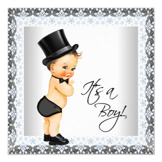 """Little Man Its a Boy Baby Shower 5.25"""" Square Invitation Card"""