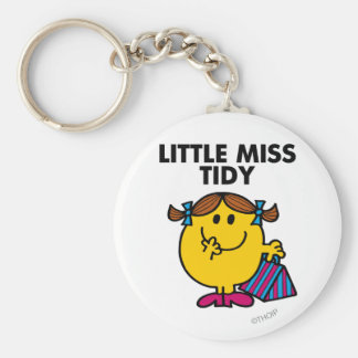 Little Miss Tidy | Black Lettering Basic Round Button Keychain
