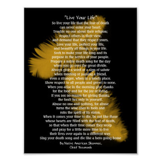 """""""Live Your Life""""  Golden feathers, Chief Tecumseh Poster"""