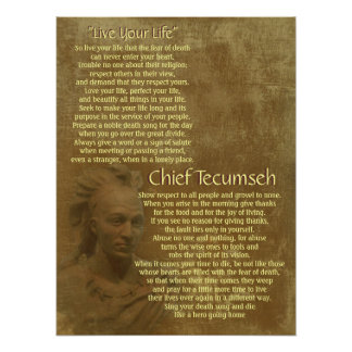 """""""Live Your Life""""  on old parchment, Chief Tecumseh Poster"""