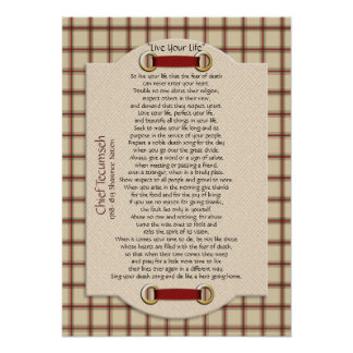 """""""Live Your Life""""  on plaid Chief Tecumseh Poster"""