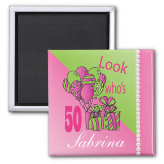 Look Who's 50   50th Birthday Square Magnet