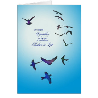 Loss of mother-in-law, sympathy card, flying birds greeting card