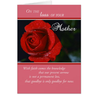 Loss of Mother, Sympathy Red Rose, Religious Greeting Card