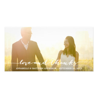 Love and Thanks Script Overlay Wedding Photo Greeting Card