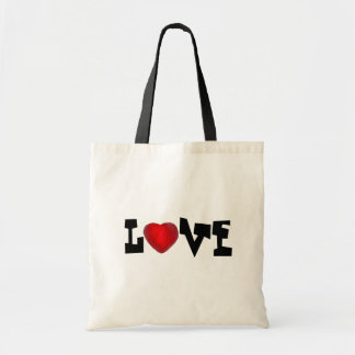 LOVE Red Candy Heart Valentines Day Valentine Tote Budget Tote Bag