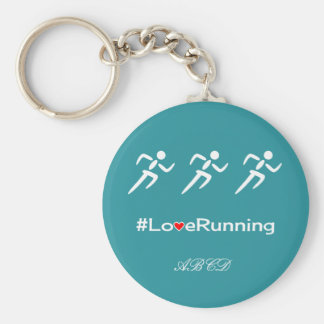 Love running slogan add initials custom blue basic round button keychain