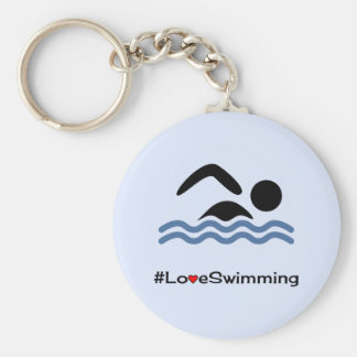 Love swimming caption pictogram swimmer basic round button keychain