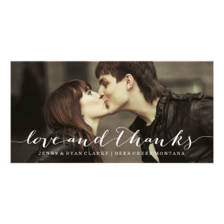 LOVE & THANKS SCRIPT |WEDDING THANK YOU PHOTO CARD