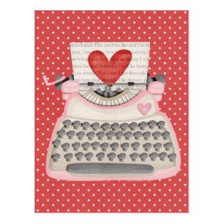 Love typewriter postcard