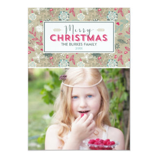 """Lovely Pattern Christmas Holiday Photo Cards 5"""" X 7"""" Invitation Card"""