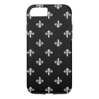 Luxury Black and White Fleur-de-lis Pattern iPhone 7 Case