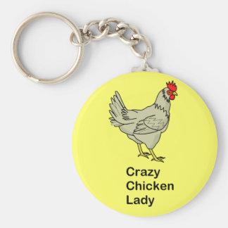 Madame folle de poulet porte-clé rond