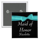 MAID OF HONOR Aqua Bow Wedding Custom Name Y123 2 Inch Square Button