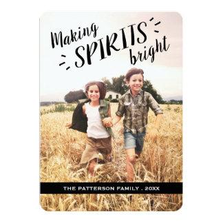 "Making Spirits Bright Hip Holiday Photo Card 5"" X 7"" Invitation Card"