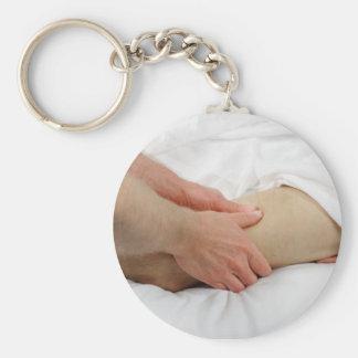 Man Having Leg Massage Basic Round Button Keychain