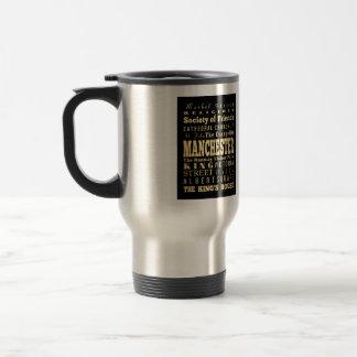 Manchester City of United Kingdom Typography Art 15 Oz Stainless Steel Travel Mug