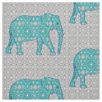 Mandala flower elephant - turquoise, grey & white fabric