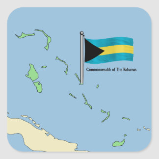 Map and Flag of the Bahamas Square Sticker
