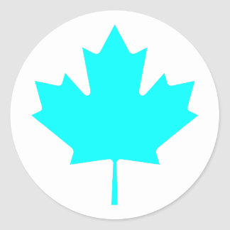 Maple Leaf CyanTransp The MUSEUM Zazzle Gifts Round Sticker
