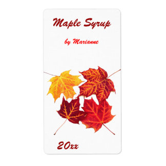 Maple syrup - maple leaves canning label shipping label