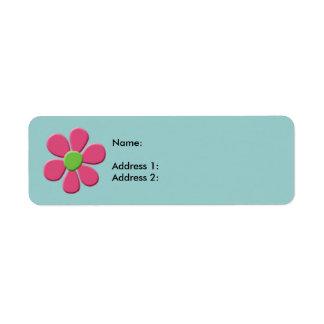 Marguerite verte rose étiquettes d'adresse retour