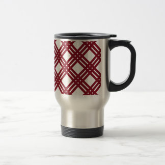 Maroon and White Gingham 15 Oz Stainless Steel Travel Mug