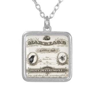 Marriage of Bird & Bee Square Pendant Necklace