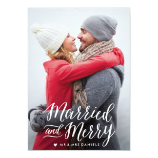 """Married and Merry Holiday Photo Card 5"""" X 7"""" Invitation Card"""