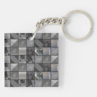 Masculine Monochrome Mosaic Tiled Pattern Double-Sided Square Acrylic Keychain