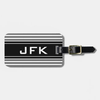 Masculine monogram travel luggage tag with stripes