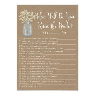 "Mason Jar  How well do you know the bride 5"" X 7"" Invitation Card"