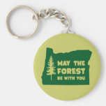 May the Forest Be With You Oregon Basic Round Button Keychain